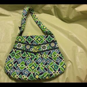 Mini Vera Bradley bag in navy and Kelly green.